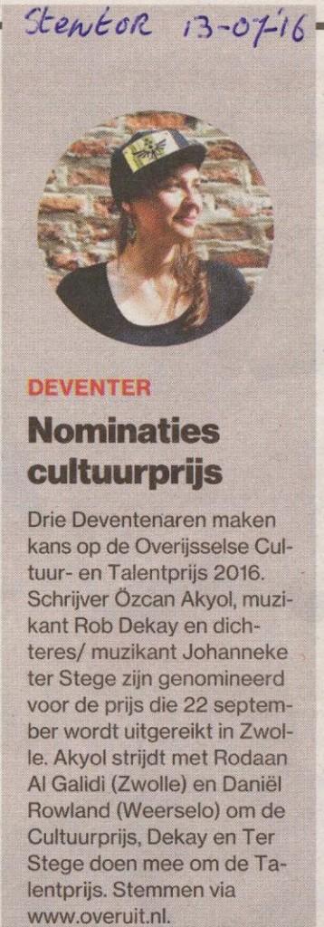 Nominatie Johanneke Overijsselse cultuurprijs